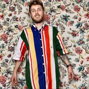 Multicolor NAUTICA YACHT striped ss button shirt